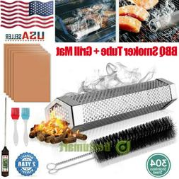 """12"""" Pellet Smoker Tube Barbecue Wood Pellet, 5xBBQ Grill Mat"""