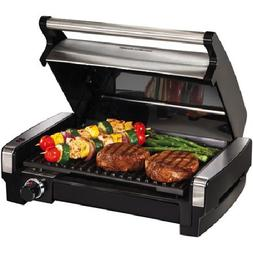 Electric Indoor Searing Grill Removable hood, plate & drip t