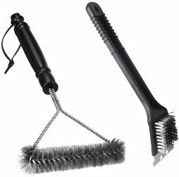 Grill Brush Set BBQ Brush and Scraper 12 Inch 3-Sided Barbec