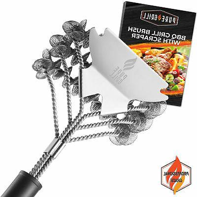 18 stainless steel bristle free grill brush