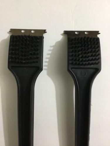"""2 PC BBQ GRILL BRUSH 18"""" HANDLE WITH"""