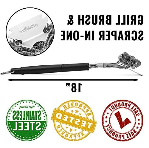 Grillaholics Free Cleaning Wire Bristles Professional Heavy Duty Coils and - Lifetime Manufacturers Warranty
