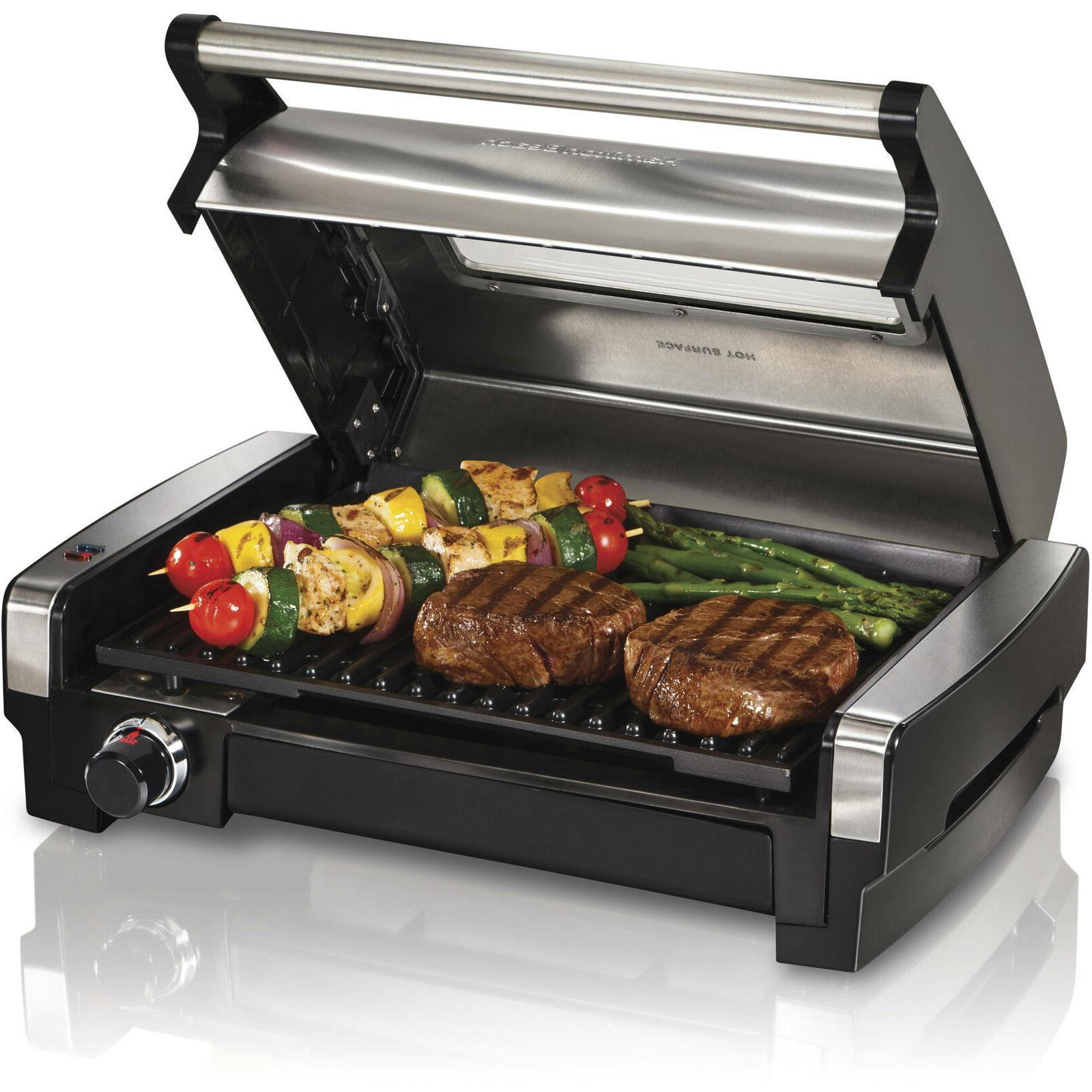 electric indoor searing grill w removable plates