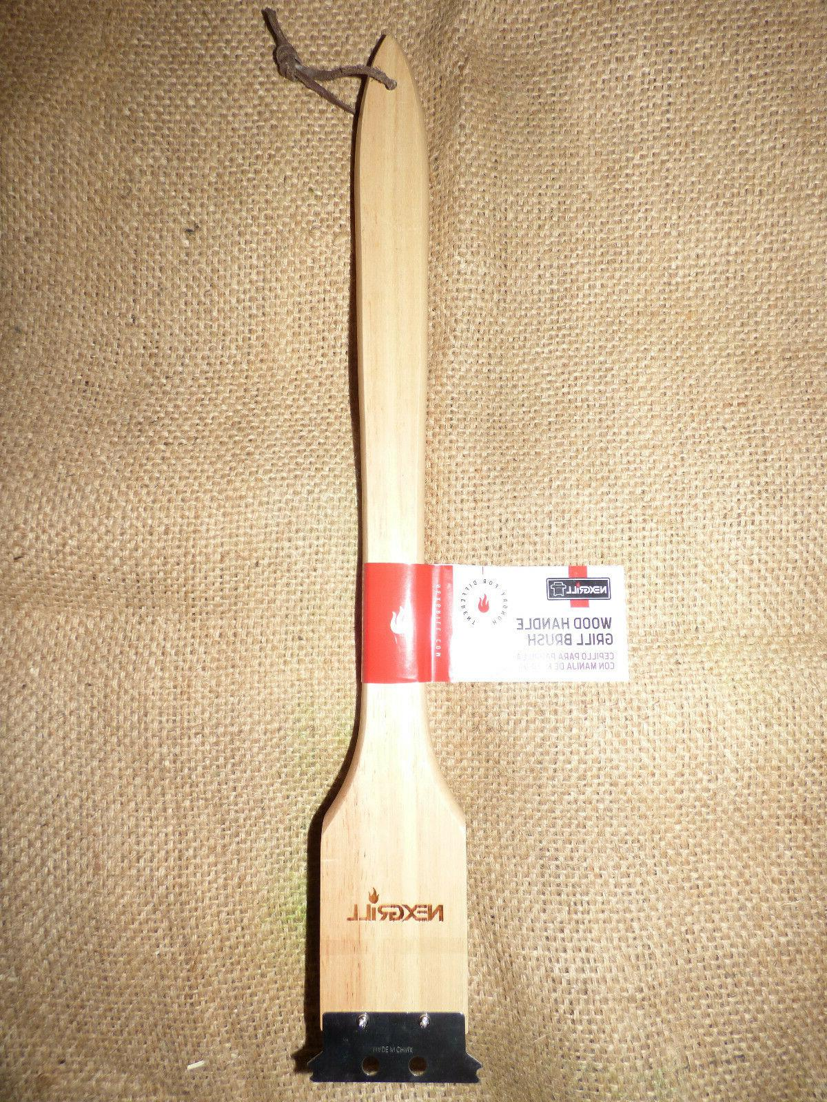 wood handle grill barbeque bbq brush scrubber