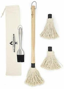 Searious Grilling Wood BBQ Mop Set – BBQ Basting Brush for