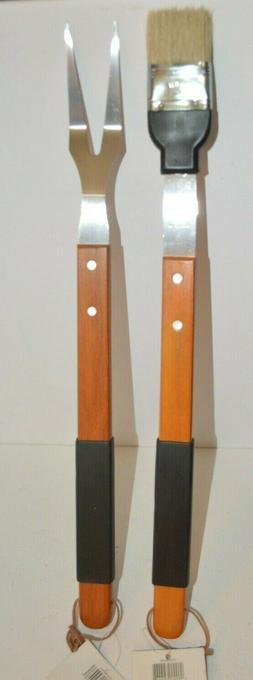 """SET 2 Barbecue Grill 19"""" FORK & Brush Long WOOD Handle Stain"""